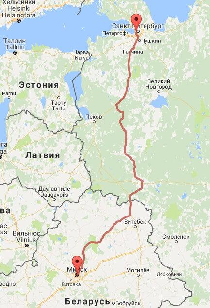 вариант маршрута транспортировки сборного груза Минск Петербург